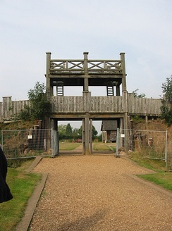 The reconstructed Roman Lunt Fort in Baginton near Coventry.