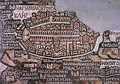 "The Madaba Map depiction of 6th-century Aelia Capitolina has the Cardo Maximus, the town's main street, beginning at the northern gate, today's Damascus Gate, and traversing the city in a straight line from north to south to ""Nea Church""."