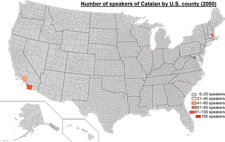 Map of U.S. counties highlighting from grey to orange the number of speakers of Catalan