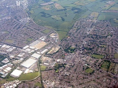 Aerial photograph of Northern Dunstable, showing the Luton to Dunstable Busway and the A5 road