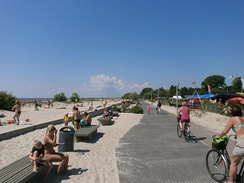 Pärnu, the summer capital of Estonia, is especially known for its sand beaches by the Baltic Sea, making it one of the most popular travel destinations.[8][9]