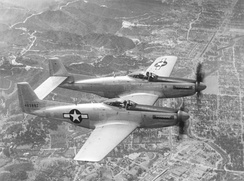 The second prototype North American XP-82 Twin Mustang (44-83887) being flight-tested at Muroc Army Airfield, California.