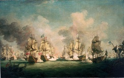 The Battle of Barfleur, where Russell commanded the English fleet