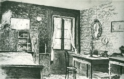 My Room (German: Meine Bude), 1896. Pen and ink wash, 120 by 190 mm (4 3⁄4 by 7 1⁄2 in). In the collection of the Klee Foundation, Bern, Switzerland