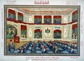 A postcard depicting a meeting of the Parliament in 1914.