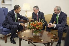 United States President Barack Obama with Peter Robinson and McGuinness in March 2009