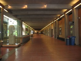 A hallway in the lower floor of the Academic Quadrangle