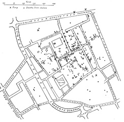 Original map by Dr John Snow showing the clusters of cholera cases in the London epidemic of 1854