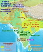 Ancient India during the rise of the Shungas from the North, Satavahanas from the Deccan, and Pandyas and Cholas from the southern tip of India.