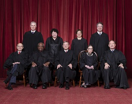 The current Roberts Court justices (since October 2018):Front row (left to right): Stephen Breyer, Clarence Thomas, Chief Justice John Roberts, Ruth Bader Ginsburg, and Samuel Alito. Back row (left to right): Neil Gorsuch, Sonia Sotomayor, Elena Kagan, and Brett Kavanaugh.