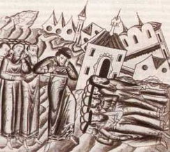 Destruction of the capital of Vladimir-Suzdal by Mongol armies. From the medieval Russian annals