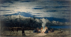 The Artist's Halt in the Desert by Moonlight, watercolour, by Richard Dadd