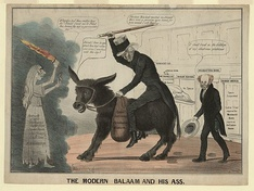 "1837 cartoon playing on ""Jackson"" and ""jackass"", showing the Democratic Party as a donkey, which has remained its popular symbol into the 21st century"