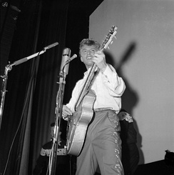Tommy Steele, one of the first British rock and rollers, performing in Stockholm in 1957