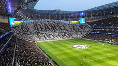 Fans displaying the club motto 'To Dare Is to Do' on the South Stand before the UEFA Champions League quarter-final with Manchester City on 9 April 2019.