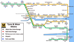 Map of the Tyne and Wear Metro