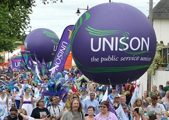 Part of the UNISON contingent at the Tolpuddle Martyrs' Festival and Rally 2016