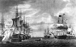 Surrender of Samuel Story's Dutch Texel squadron to a British-Russian fleet under Andrew Mitchell, 30th of August 1799 in the Vlieter.