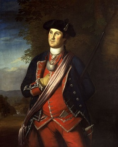 This, the earliest portrait of Washington, was painted in 1772 by Charles Willson Peale, and shows Washington in uniform as colonel of the Virginia Regiment. The original hangs in Lee Chapel at Washington and Lee University in Lexington, Virginia