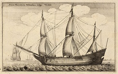 Historical merchant trading ship: a Dutch fluyt cargo vessel from the late 17th-century