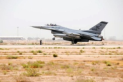 121st Expeditionary Fighter Squadron F-16C Fighting Falcon 86-0209 lifts off the runway at Balad AB, Iraq