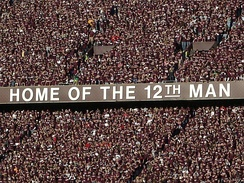 The Texas A&M student section of Kyle Field stands the entire game to show support for the football team