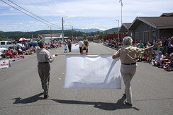 Independence Day parade in 2014.  Mount Rainier can be seen in background.
