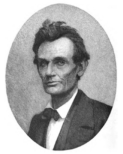 A Timothy Cole wood engraving taken from a May 20, 1860, ambrotype of Lincoln, two days following his nomination for President