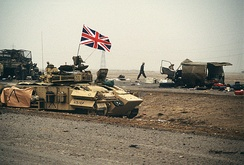 An armoured personnel carrier flying the Union Jack