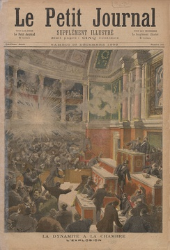Artist's rendition of the bomb thrown by the anarchist Auguste Vaillant into the Chamber of Deputies of the French National Assembly in December, 1893