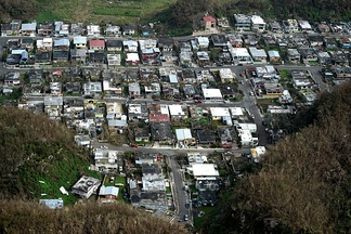 A neighborhood in Puerto Rico heavily damaged by the storm.