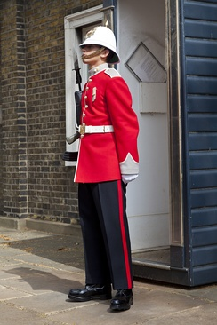 A soldier of the Royal Gibraltar Regiment on ceremonial duty.