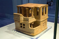 Minoan house model, circa 1700-1675 BC, terracotta, in the Heraklion Archaeological Museum (Heraklion, Greece)