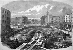 Initial construction stages of London's Metropolitan Railway at King's Cross St. Pancras in 1861