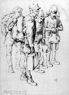 "1943 drawing by US army artist Rudolph von Ripper of Afrika Corps prisoners of war, captioned ""laden with the loot of many country's, the Africa-Corps is brought into captivity."""