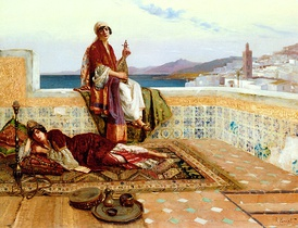 Young Ladies on a Terrace in Tangiers (1880s) by Rudolf Ernst