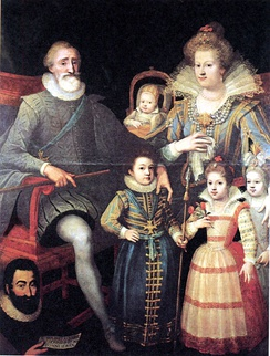 "Henry IV and the royal family. Below left, Fouquet de la Varenne. Attributed to Frans Pourbus the Younger Fouquet is holding a paper on which is written: ""He made me to acquire honor and gave me kindness""."