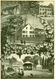 Pictures from Old Germantown: the Pastorius family residences are shown on the upper left (c. 1683) and upper right (c. 1715), the center structure is the house and printing business of the Caurs family (ca. 1735), and the bottom structure is the market place (c. 1820).