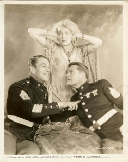 Promotional photo of McLaglen, with Greta Nissen and Edmund Lowe, for the 1931 comedy film Women of All Nations