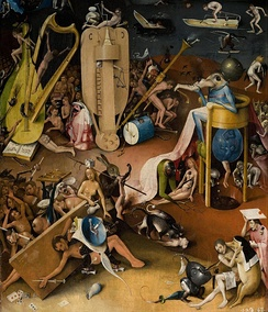Detail of The Garden of Earthly Delights by Hieronymus Bosch, showing the first known depiction of a buzzing bridge on a hurdy-gurdy.