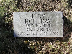 The footstone at Judy Holliday's grave