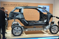 The BMW i3 electric car is one of the rare modern cars with a separate body and frame design (2013).