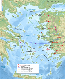 Map showing main events of the Ionian Revolt.