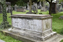 The grave of John James Ruskin in the churchyard of St John the Evangelist, Shirley, Croydon