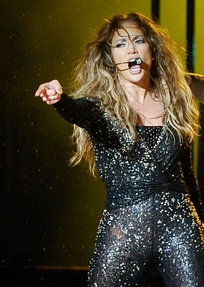 Lopez performing during her Dance Again World Tour, December 2012.