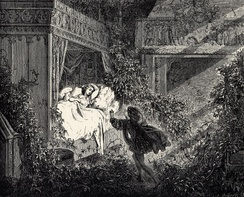 The prince arrives to break the spell which has kept Sleeping Beauty and her kingdom asleep for 100 years. A classic and well-known use of eucatastrophe.[citation needed] Illustration by Gustave Doré
