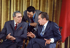 Leonid Brezhnev (left) was the leader of the Soviet Union during the second half of the Vietnam War.