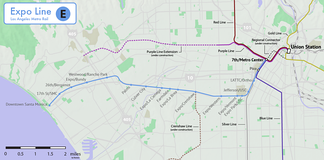Route and stations of the Expo Line, relative to other Metro lines. Under construction or planned segment are shown as dashed lines.