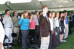 Peace Corps trainees swearing in as volunteers in Madagascar, April 26, 2006.