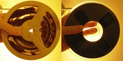 Magnetic audio tapes: acetate base (left) and polyester base (right)